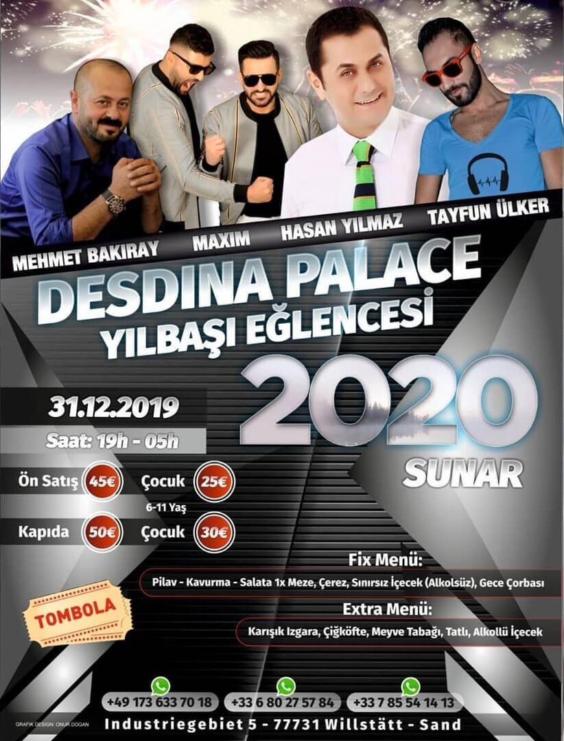 Yeni Yıla Almanya'da Merhaba Diyecekler için Desdina Palace Yılbaşı Programı 2020
