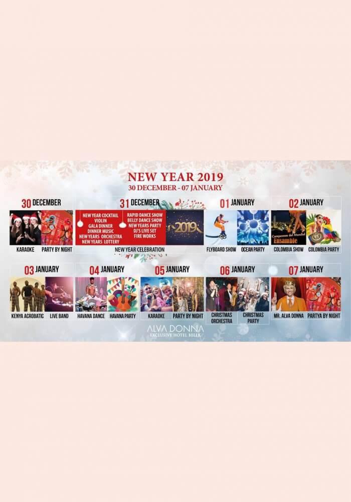 2019 Antalya Belek Alva Donna Hotel Yılbaşı Programı