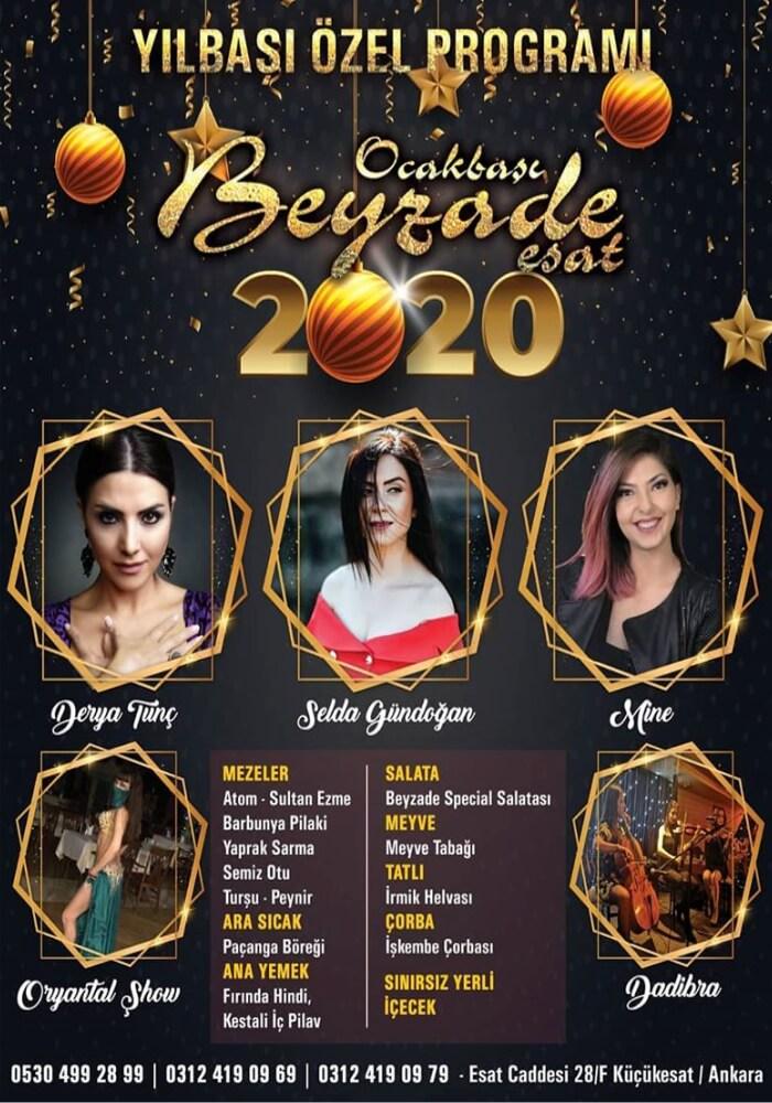 Ankara Beyzade Ocakbaşı Restaurant Esat Yılbaşı Programı 2020