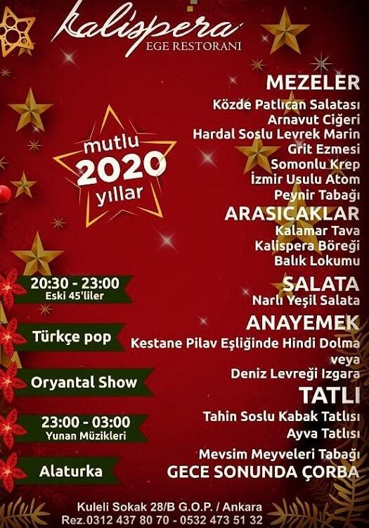 Ankara Kalispera Ege Restoranı Yılbaşı Programı 2020