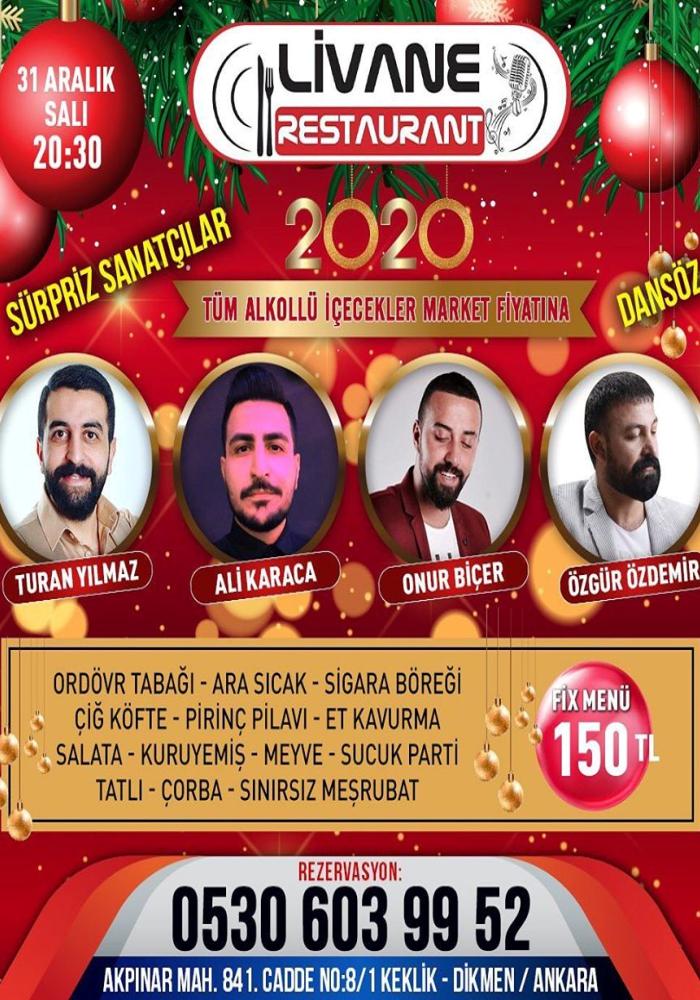 Ankara Livane Restaurant Yılbaşı Programı 2020