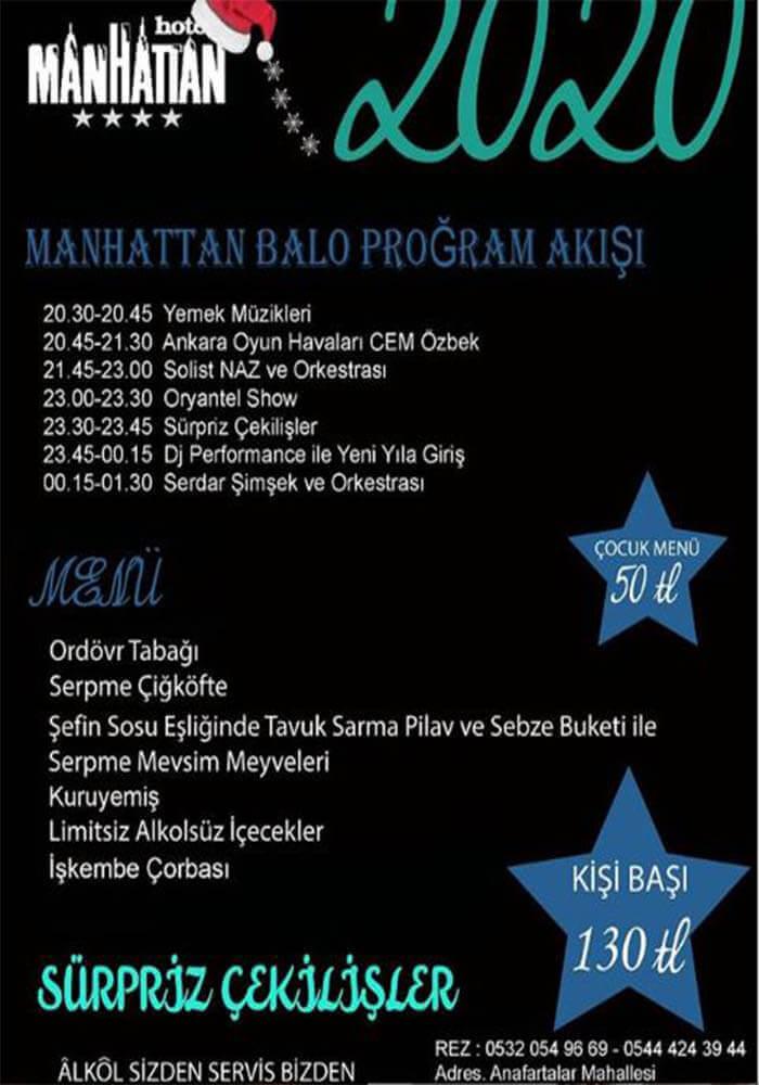 Ankara Manhattan Hotel Yılbaşı Programı 2020