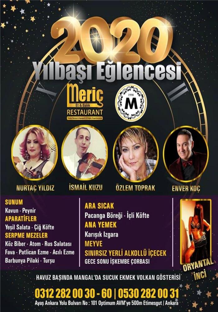 Ankara Meriç Restaurant Yılbaşı Programı 2020