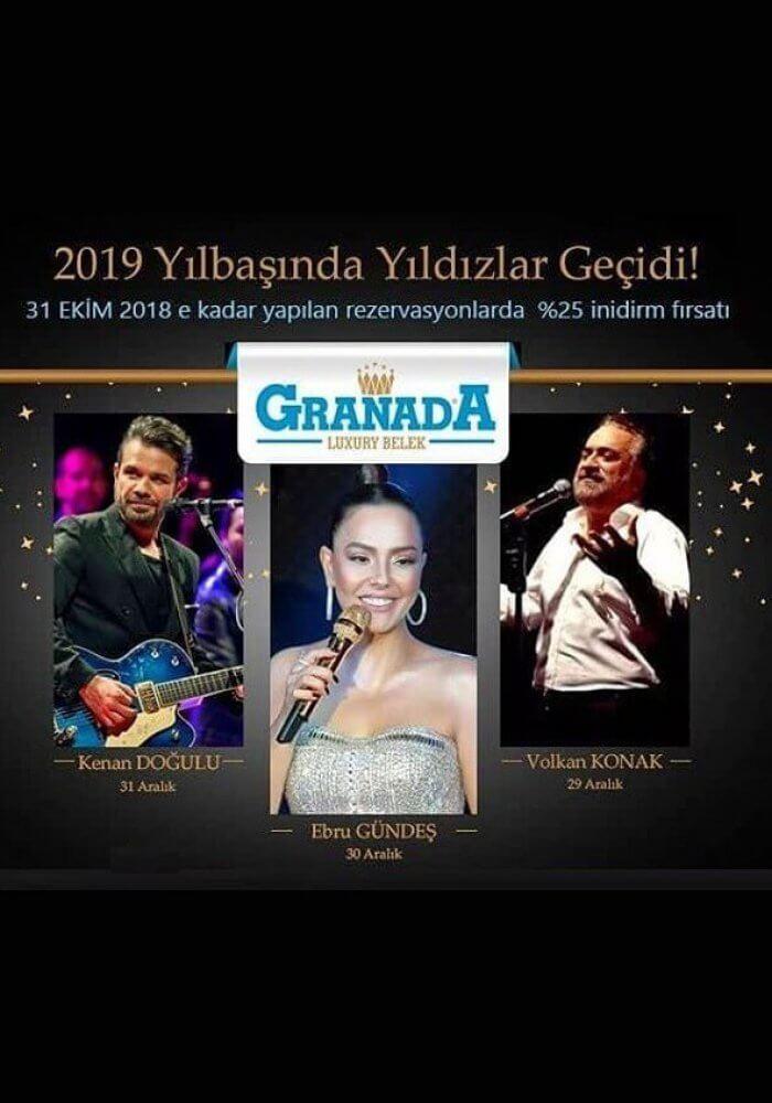 2019 Antalya Granada Luxury Belek Hotel Yılbaşı Programı