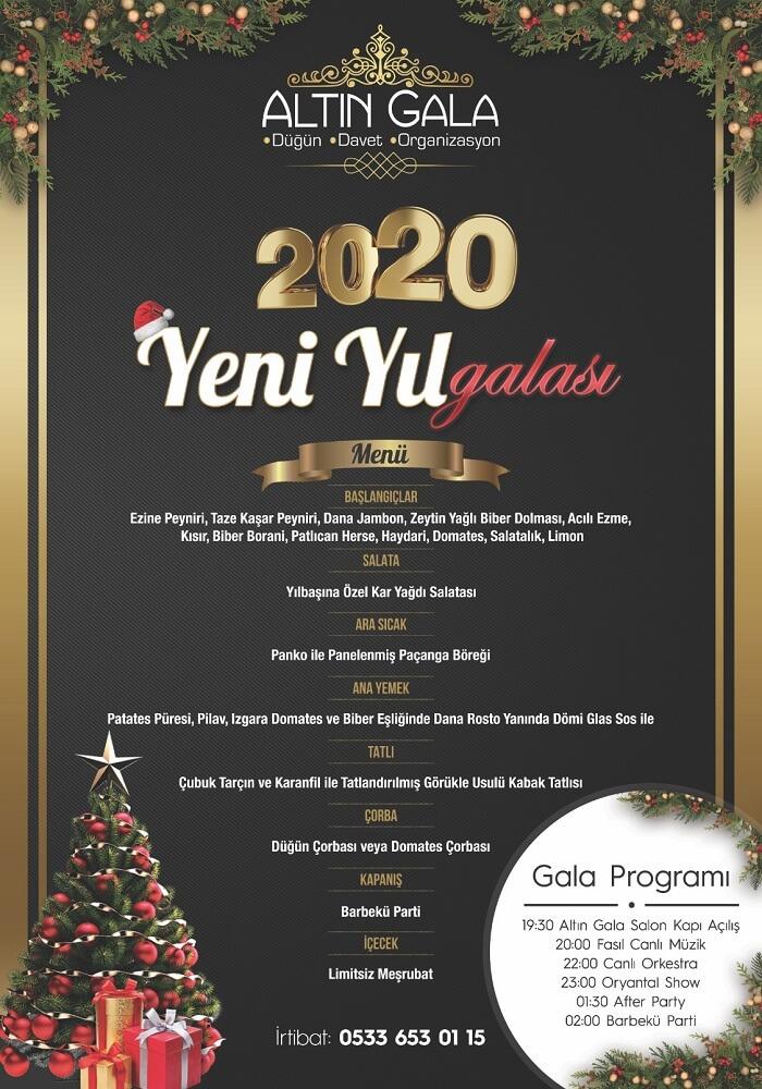 Bursa Altın Gala Düğün Salonu Yılbaşı Programı 2020
