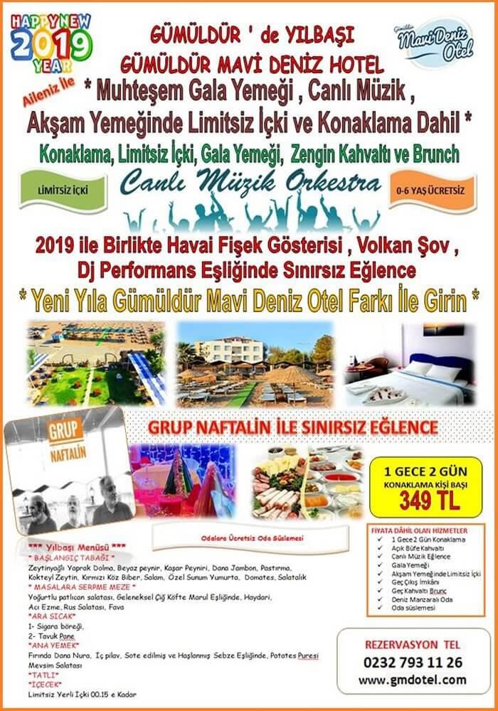 Gümüldür Mavi Deniz Otel 2019 Yılbaşı Programı