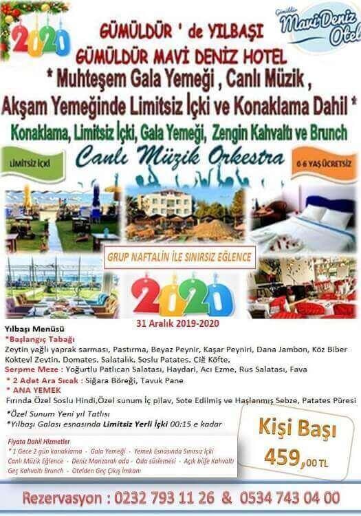 Gümüldür Mavi Deniz Otel İzmir 2020 Yılbaşı Programı
