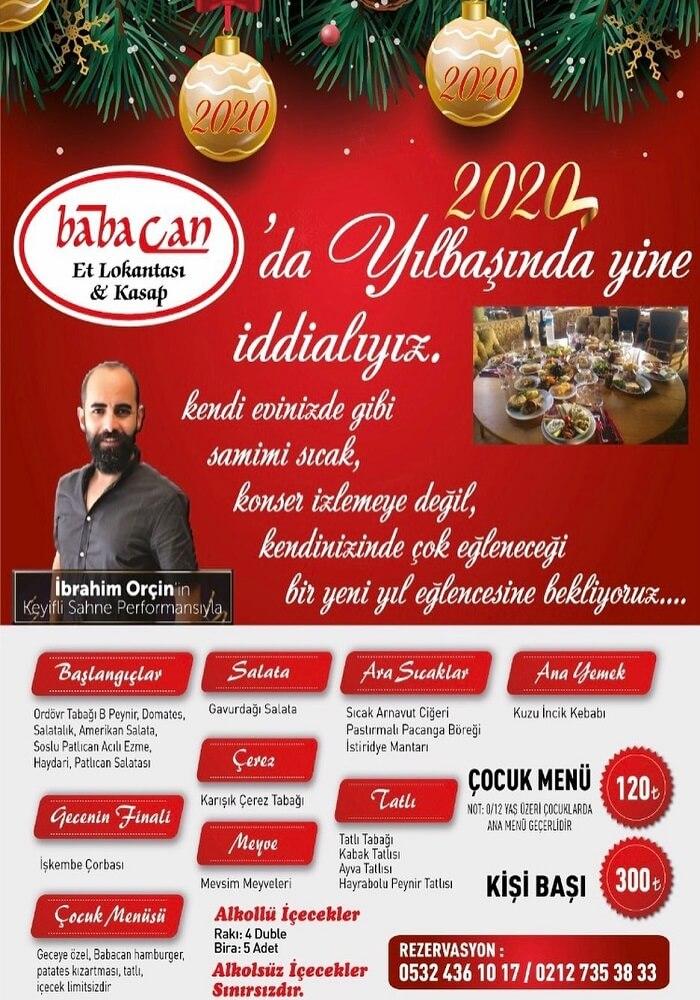 İstanbul Babacan Et Lokantası Yılbaşı Programı 2020