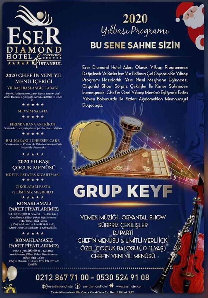 İstanbul Eser Diamond Hotel 2020 Yılbaşı Programı