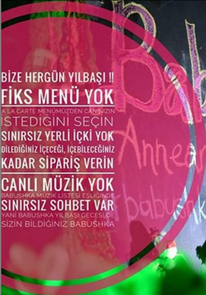 İzmir Babushka Restoran Alaçatı Yılbaşı Programı 2020