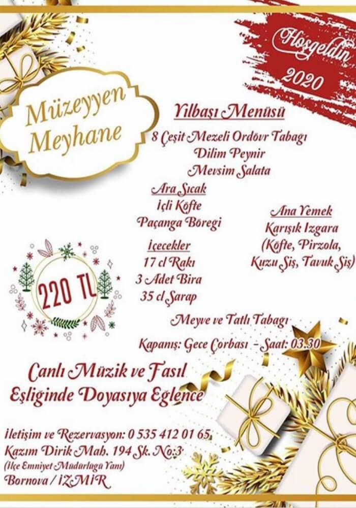 İzmir Bornova Müzeyyen Meyhane Yılbaşı Programı 2020