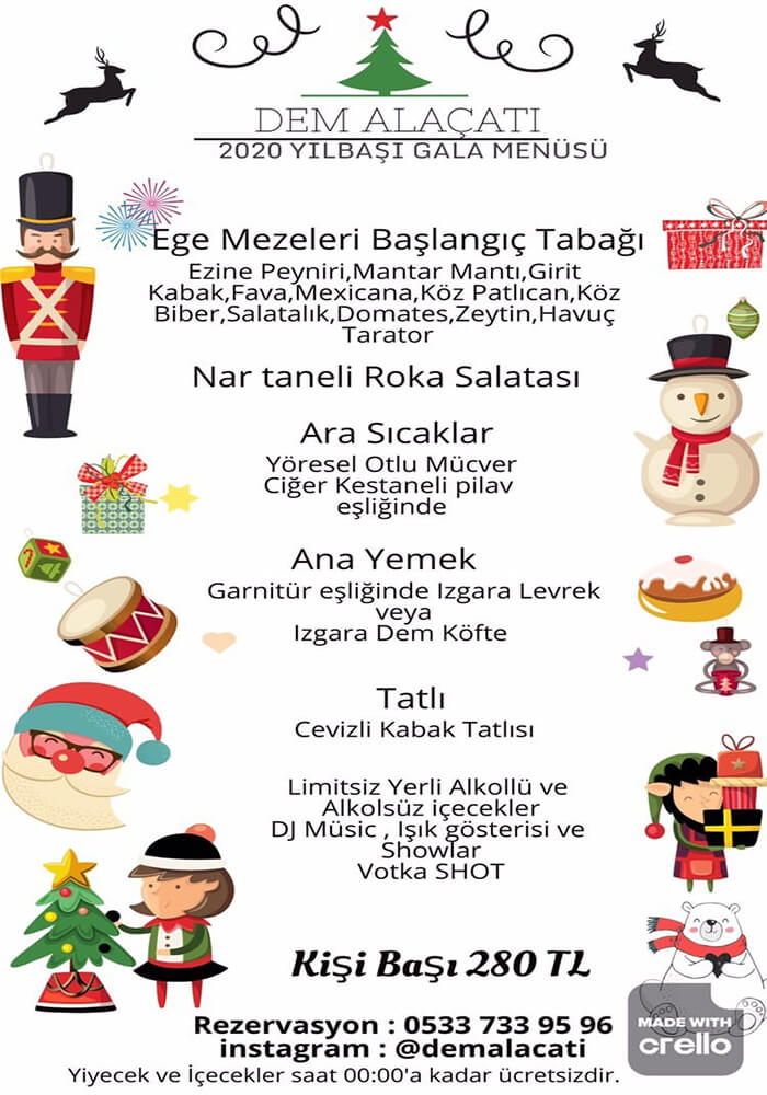 İzmir Dem Alaçatı Meyhane Yılbaşı Programı 2020