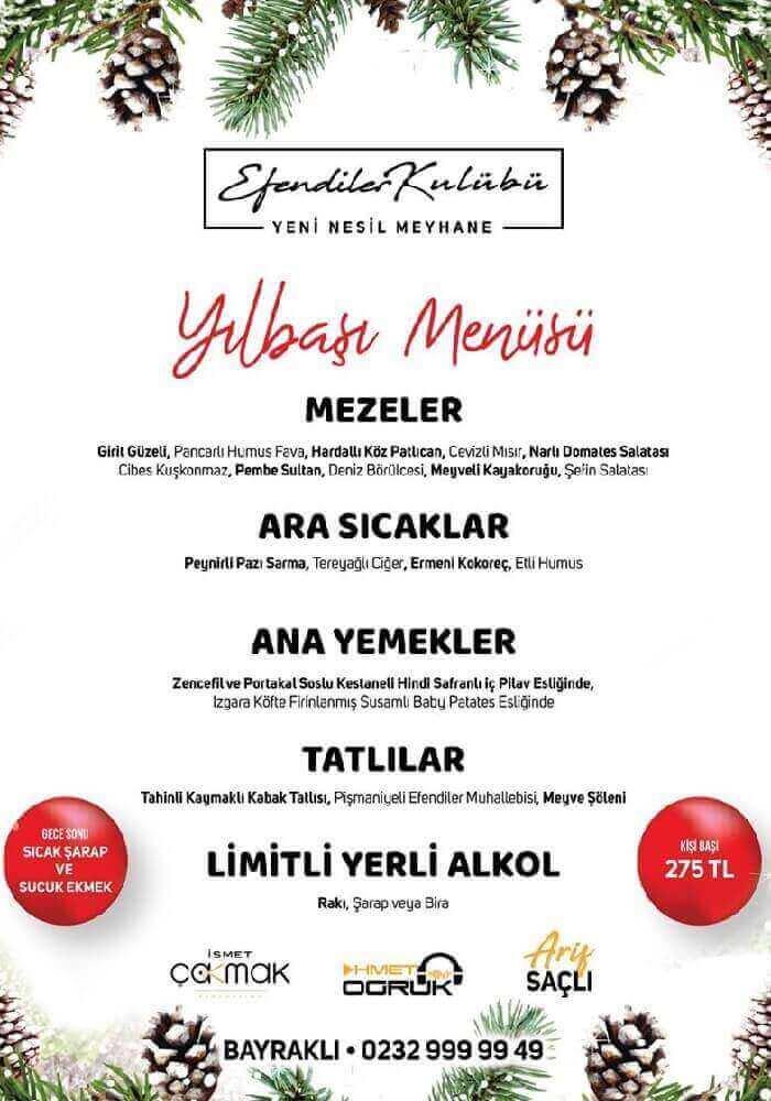 İzmir Efendiler Kulübü Meyhanesi Bayraklı Yılbaşı Programı 2020