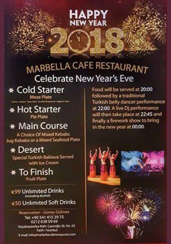 Marbella Cafe Restaurant Yılbaşı 2018