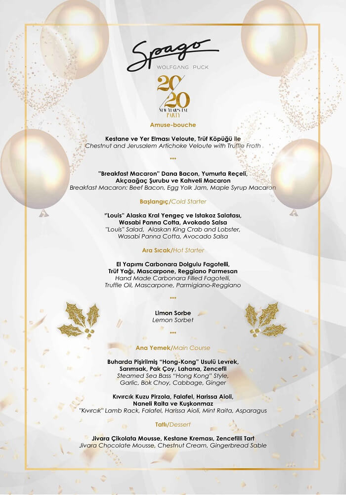 Spago İstanbul Yılbaşı Programı 2020