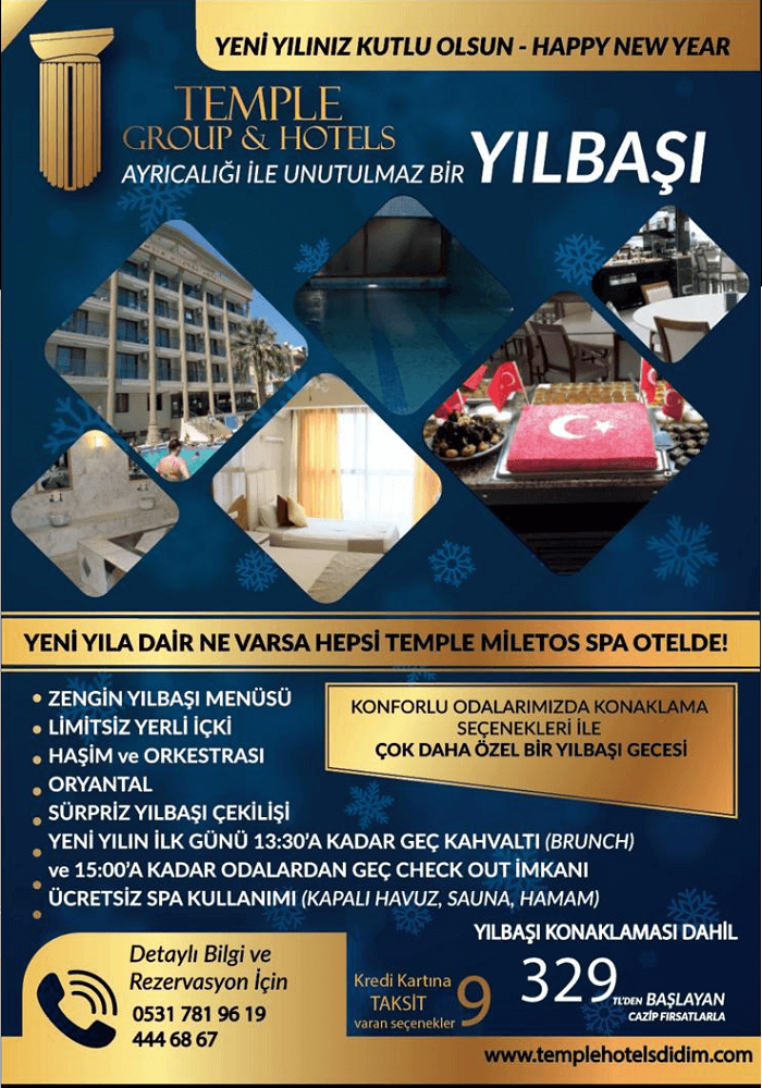 Temple Miletos Hotel Didim Yılbaşı Programı 2020