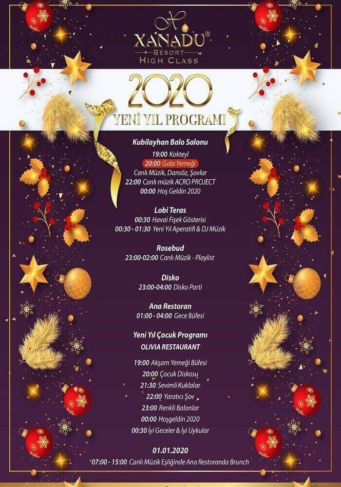 Xanadu Hotels Belek Antalya 2020 Yılbaşı Programı